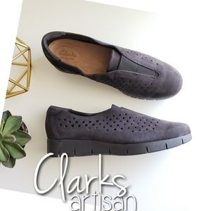 Clarks slip on perforated leather wedge sneakers